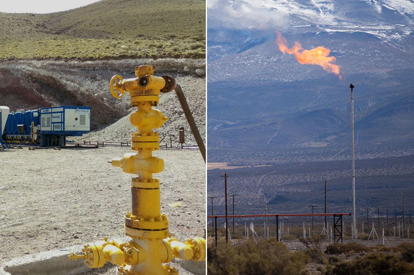 Pozos dispersos y antorchas de venteo de gas en la Patagonia Argentina