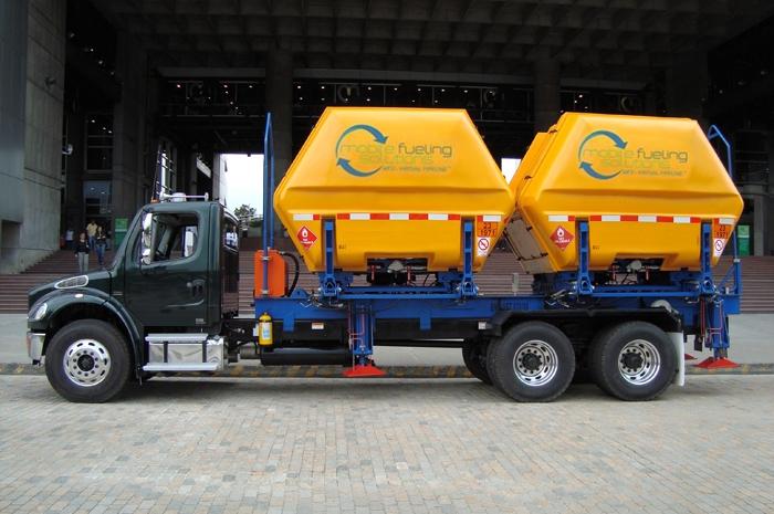 Carreta VST<sup>®</sup> com contentores MAT-B<sup>®</sup> do Gasoduto Virtual<sup>®</sup> utilizada pela MFS para abastecer veículos com GNV tanto nos pontos de concentração das frotas quanto durante seus percursos.