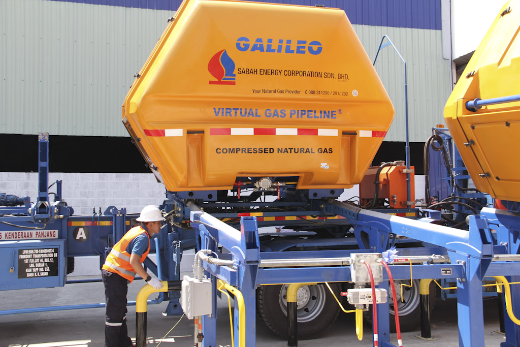 Galileo's CNG modular containers (MAT®) ready to be transported by road on specifically designed trailers (VST®) to the daughter stations, which are located in four different spots.
