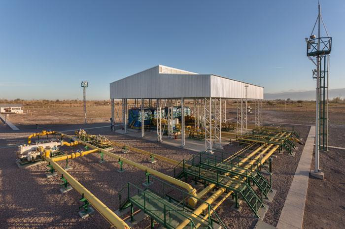 Estações de recompressão Galileo MX 1000 em El Pastal, Província de Mendoza, Argentina.