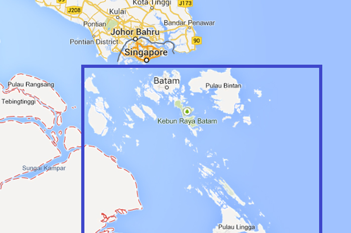 Зона поставки CNG, охватываемая PLN Batam.