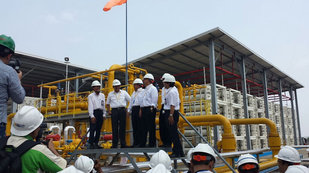 PT PLN executives and local authorities during the opening of the new Compressed Natural Gas (CNG) Storage Facility in Muara Tawar.