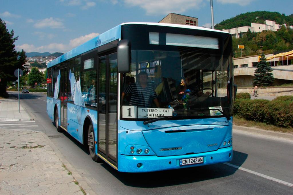 Flota renovada de autobuses a GNC de la compañía de transporte Rozhen Express. | Foto: © Kim Løvenskjold